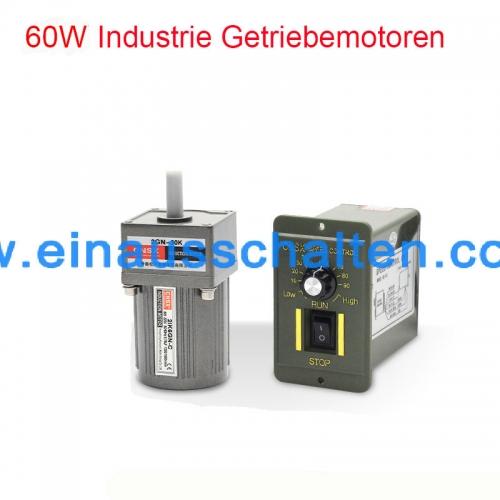 Einphasige 220V AC 60W 1:3(500rpm) elektrische Drehzahlregelung ...