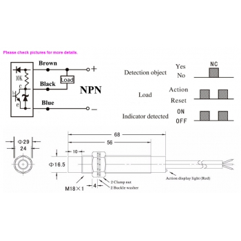 LJ18A3-8-Z//AX M18 Inductive Proximity Switch 3-Wire NPN Normally Closed Sensor