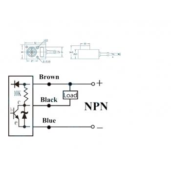 Induktiver Näherungsschalter 8mm Erkennungsabstand DC 3-Draht NPN ...